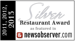 Bruno Raleigh listed as one of Raleigh's Silver Award Restaurants of 2013 by the News and Observer's Greg Cox